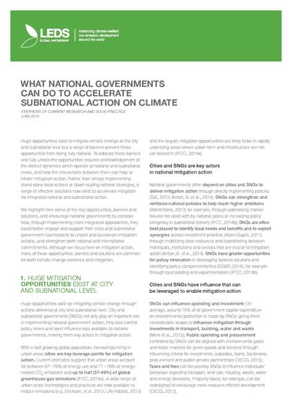 What National Governments Can Do to Accelerate Subnational Action on Climate